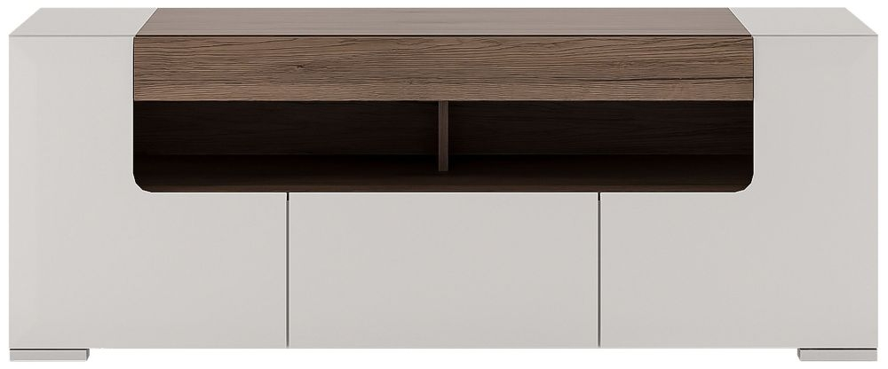 Toronto TV Cabinet - Sanremo Oak and High Gloss White