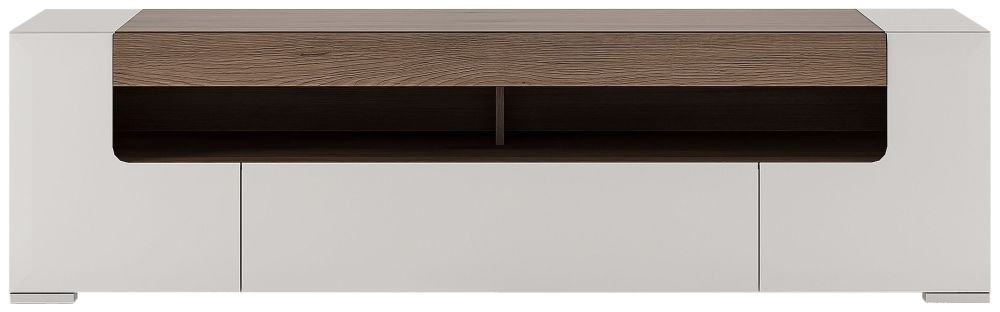 Toronto Wide TV Cabinet - Sanremo Oak and High Gloss White