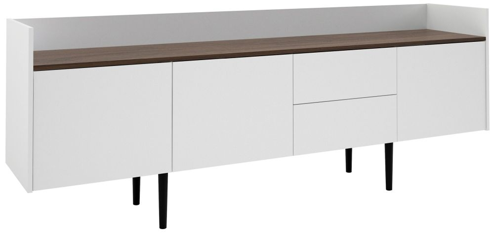 Unit Large Sideboard - White and Walnut