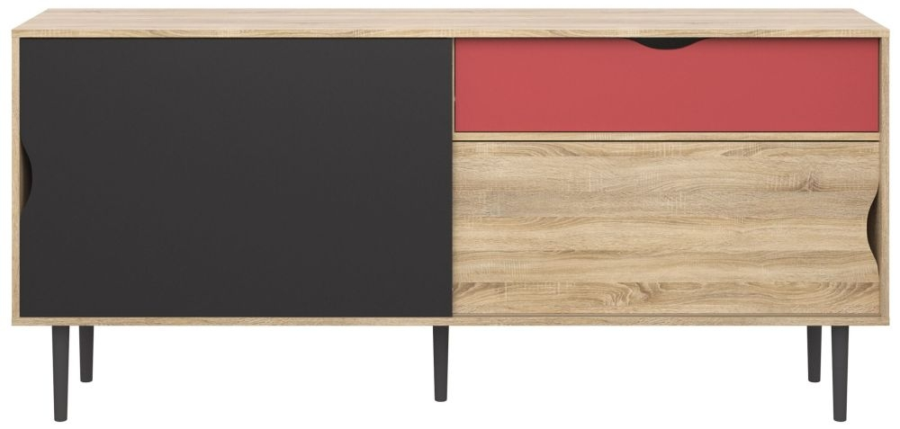 Unit Sliding Sideboard - Oak with Dark Grey and Teracotta