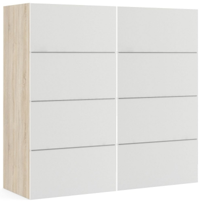 Verona 2 Door Sliding Wardrobe W 180cm - Oak and White