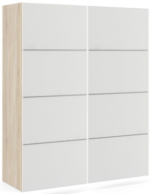 Verona 2 Door 5 Shelves Sliding Wardrobe W 120cm - Oak and White