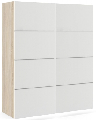 Verona 2 Door Sliding Wardrobe W 120cm - Oak and White