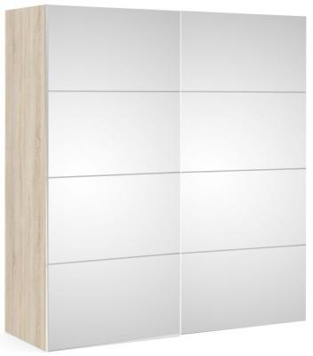 Verona Door Sliding Wardrobe W 180cm - Oak with Mirror