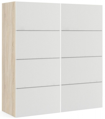 Verona 2 Door 5 Shelves Sliding Wardrobe W 180cm - Oak with White