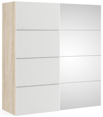 Verona 2 Door Sliding Wardrobe W 180cm - Oak with White and Mirror