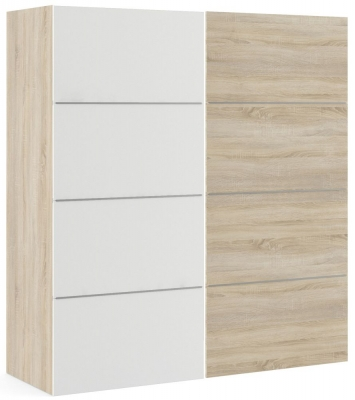 Verona 2 Door 2 Shelves Sliding Wardrobe W 180cm - Oak with White and Oak