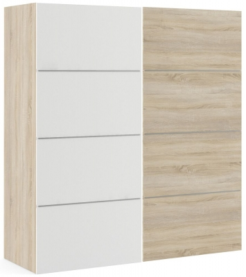 Verona 2 Door 5 Shelves Sliding Wardrobe W 180cm - Oak with White and Oak
