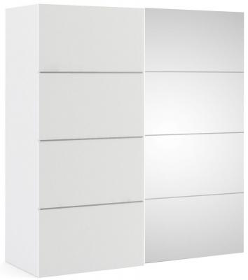 Verona 2 Door 5 Shelves Sliding Wardrobe W 180cm - White and Mirror
