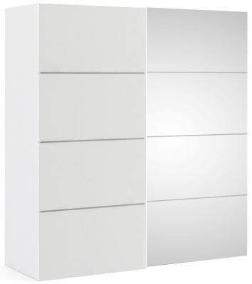 Verona 2 Door Sliding Wardrobe W 180cm - White and Mirror