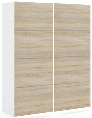 Verona 2 Door 5 Shelves Sliding Wardrobe W 120cm - White and Oak