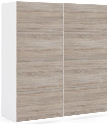 Verona 2 Door 2 Shelves Sliding Wardrobe W 180cm - White and Truffle Oak