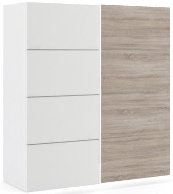 Verona 2 Door Sliding Wardrobe W 180cm - White and Truffle Oak