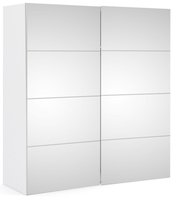 Verona 2 Door Sliding Wardrobe W 180cm - White with Mirror
