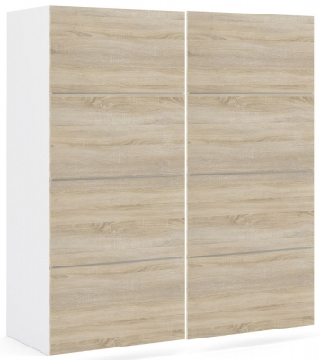 Verona 2 Door 5 Shelves Sliding Wardrobe W 180cm - White with Oak