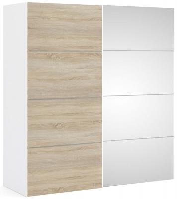Verona 2 Door 5 Shelves Sliding Wardrobe W 180cm - White with Oak and Mirror