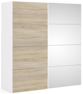 Verona 2 Door Sliding Wardrobe W 180cm - White with Oak and Mirror