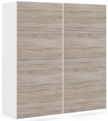 Verona 2 Door 5 Shelves Sliding Wardrobe W 180cm - White with Truffle Oak