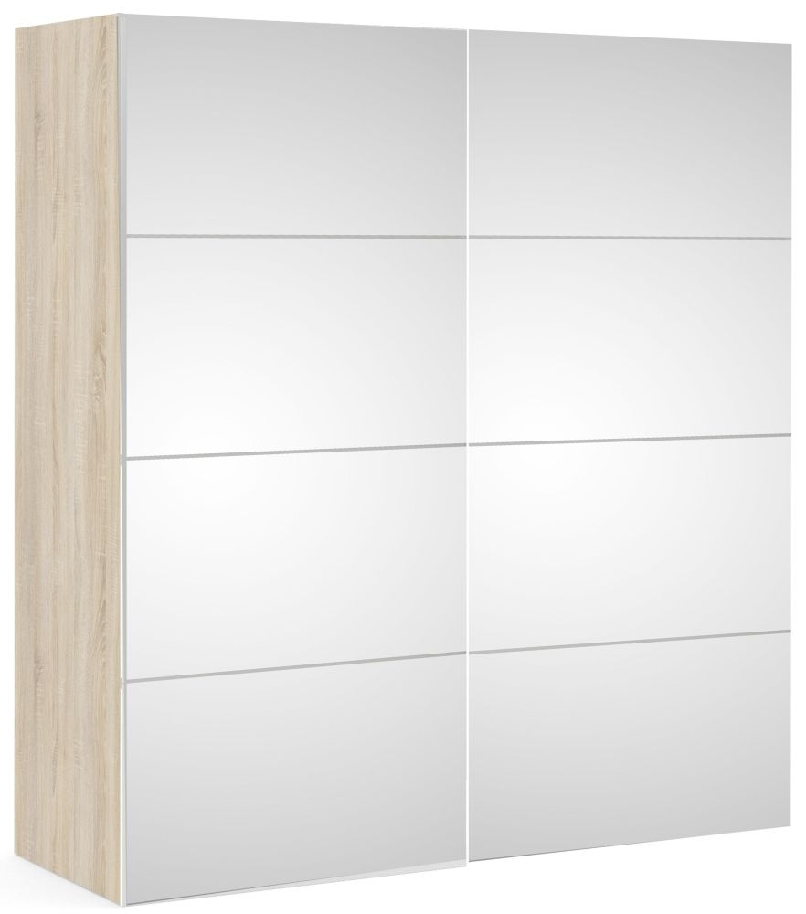 Verona Mirror Door Sliding Wardrobe W 180cm - Oak
