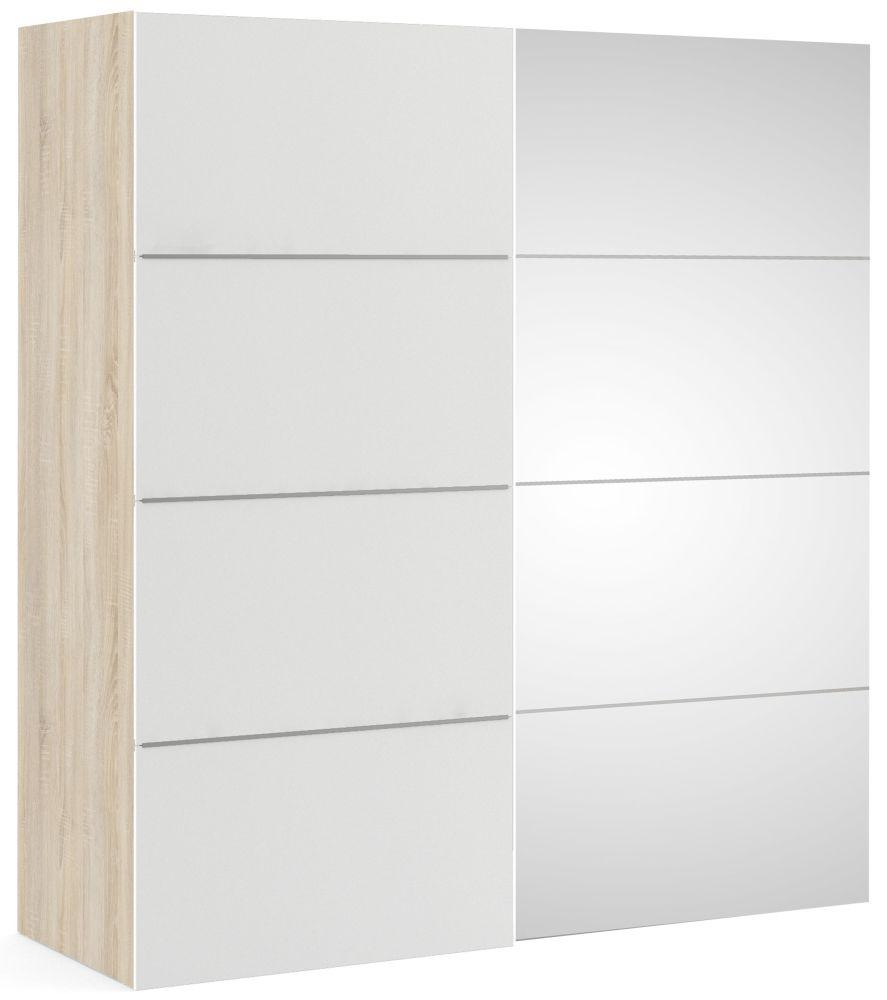 Verona 2 Door Sliding Wardrobe W 180cm - Oak with White and Mirror