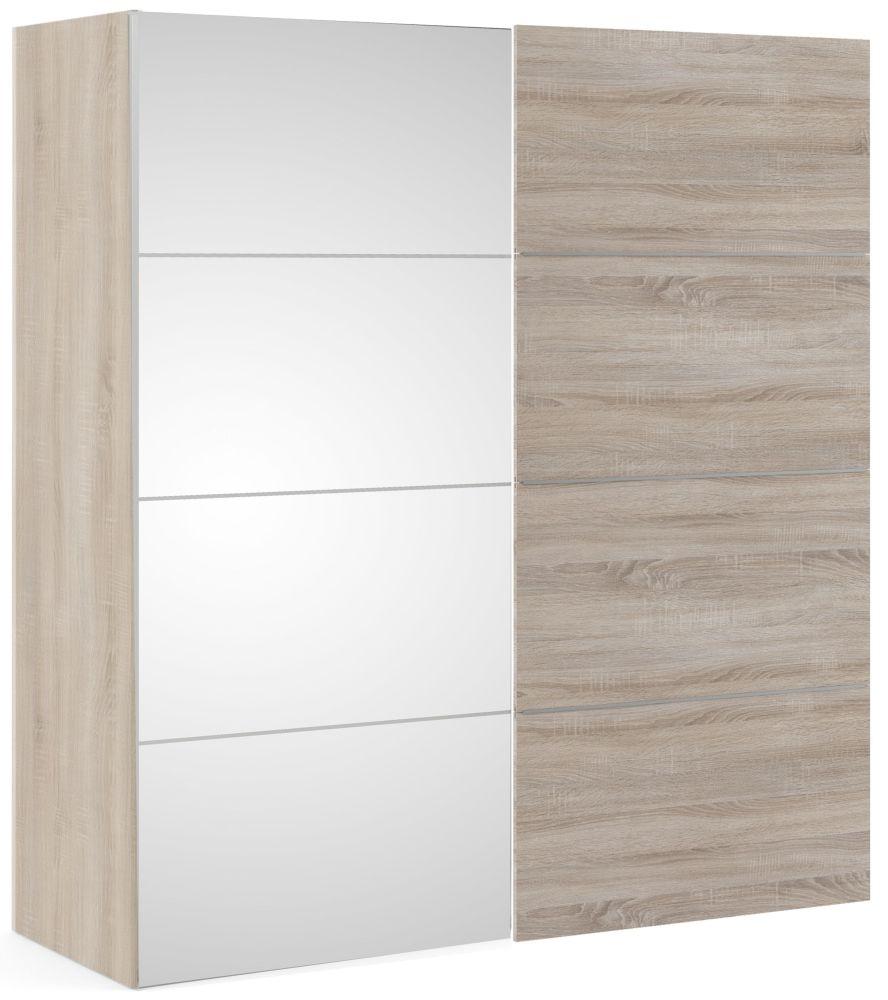 Verona 2 Door Sliding Wardrobe W 180cm - Truffle Oak and Mirror