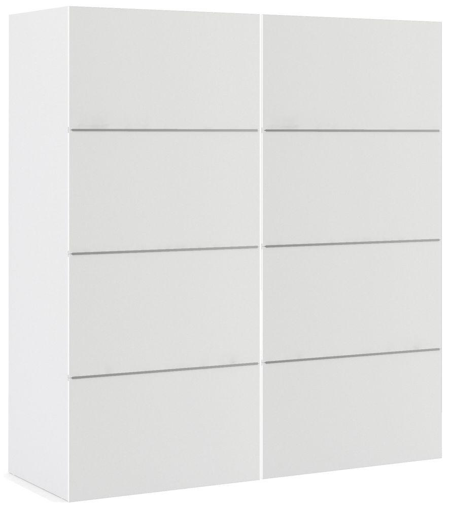 Verona 2 Door 2 Shelves Sliding Wardrobe W 180cm - White