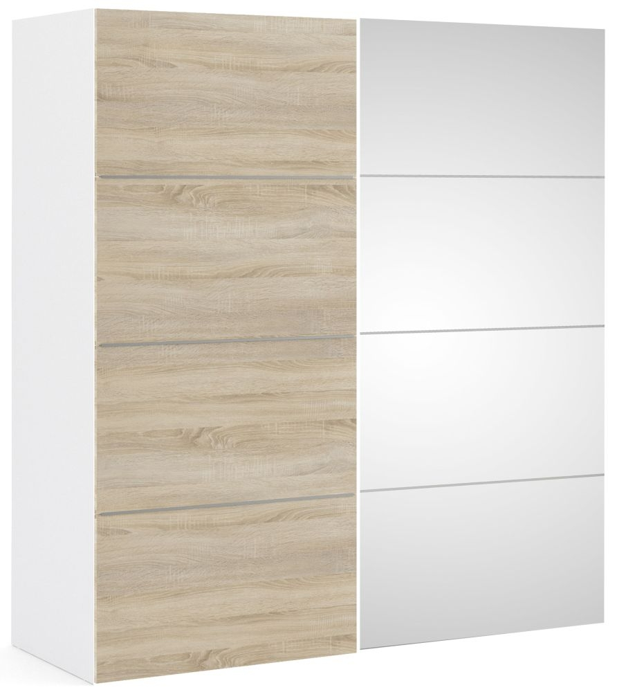 Verona 2 Door 5 Shelves Sliding Wardrobe W 180cm - White with Oak and Mirror