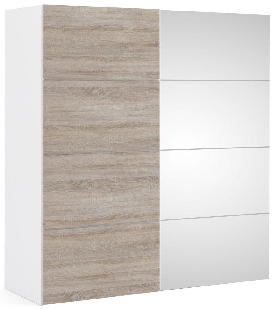 Verona 2 Door 5 Shelves Sliding Wardrobe W 180cm - White with Truffle Oak and Mirror
