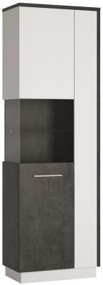 Zingaro Tall Left Hand Facing Display Cabinet - Slate Grey and Alpine White