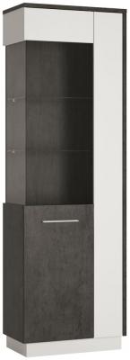 Zingaro Tall Left Hand Facing Glazed Display Cabinet - Slate Grey and Alpine White