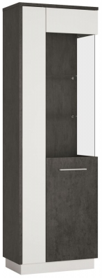 Zingaro Tall Right Hand Facing Glazed Display Cabinet - Slate Grey and Alpine White