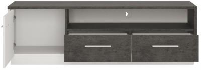 Zingaro Wide TV Cabinet - Slate Grey and Alpine White