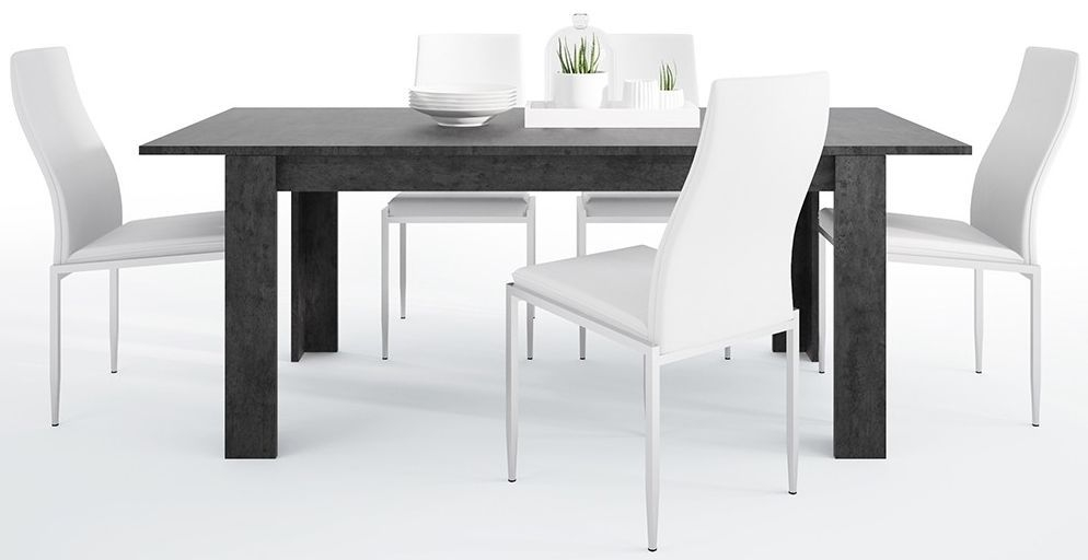 Zingaro Extending Dining Table and 4 Milan White Chairs - Slate Grey