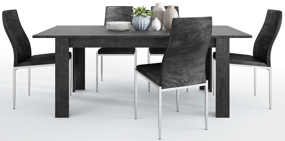 Zingaro Extending Dining Table and 6 Milan Black Chairs - Slate Grey