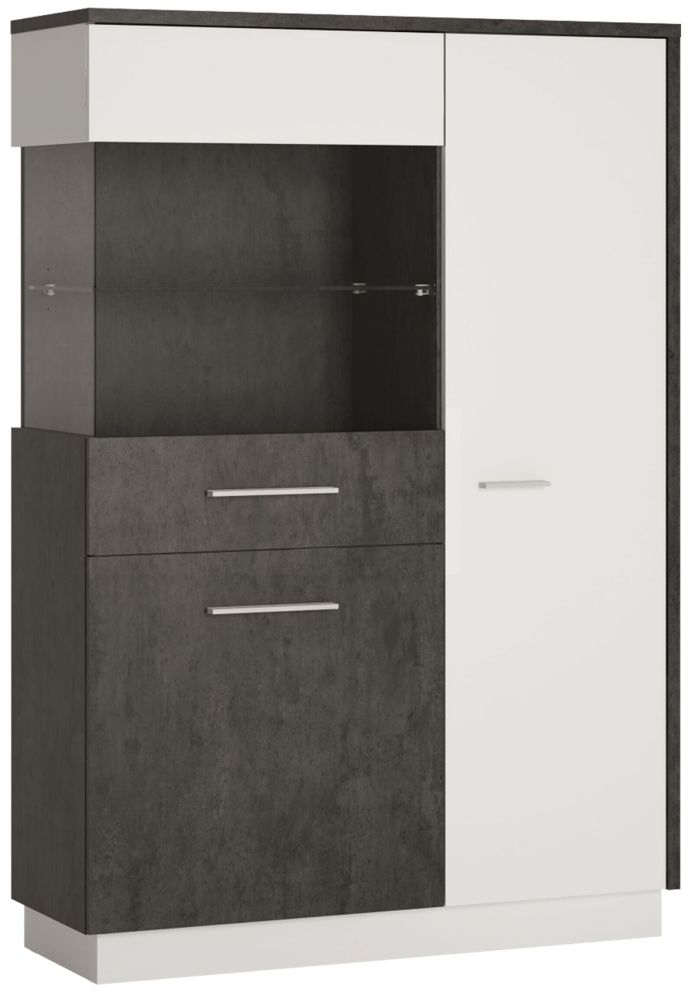 Zingaro Low Left Hand Facing Display Cabinet - Slate Grey and Alpine White