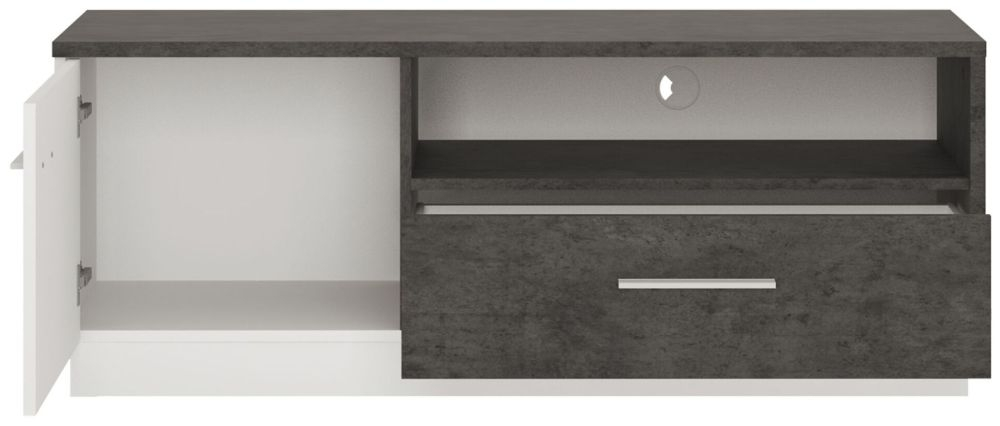 Zingaro TV Cabinet - Slate Grey and Alpine White