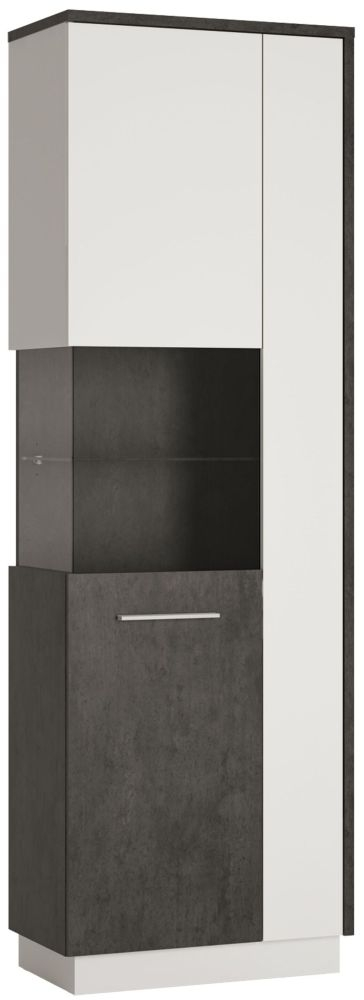 Zingaro Tall Left Hand Facing Display Cabinet - Slate Grey and Alpine White