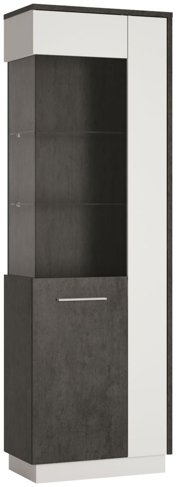Zingaro Tall Left Hand Facing Glazed Display Cabinet - Slate Grey and Alpine White