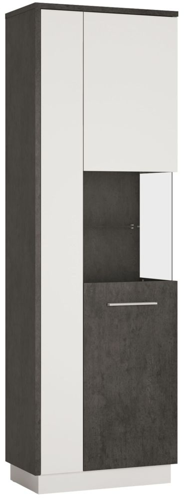 Zingaro Tall Right Hand Facing Display Cabinet - Slate Grey and Alpine White