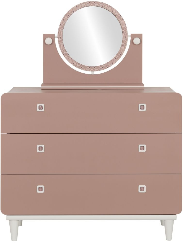 Gami April Amber Pink 3 Drawer Chest with Mirror