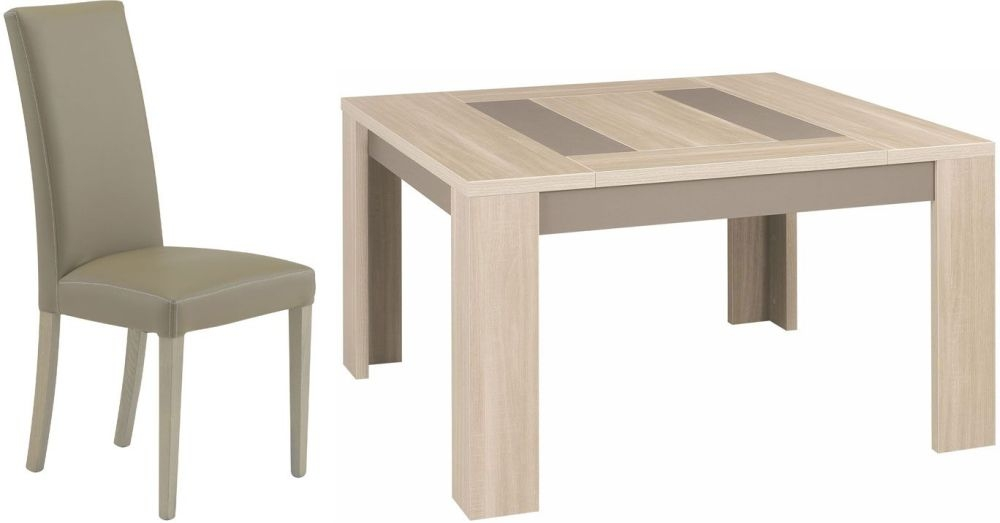 Gami Atlanta Light Oak Dining Set - Square Extending with Ava Taupe Chairs