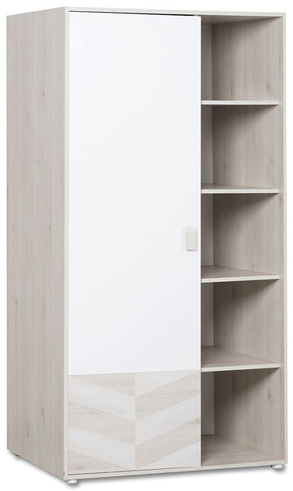 Gami Augustin White Washed Pine 1 Door Wardrobe