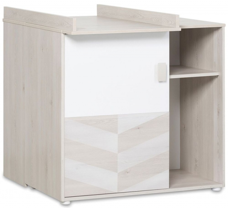 Gami Augustin White Washed Pine 1 Door Chest with Changing Table