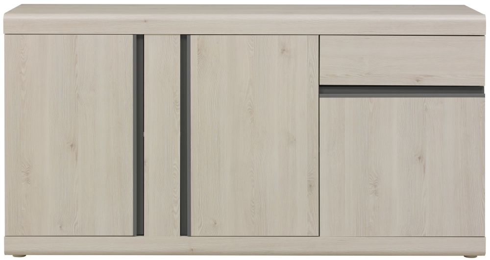 Gami Barolo Whitewashed Pine Sideboard - 3 Door 1 Drawer