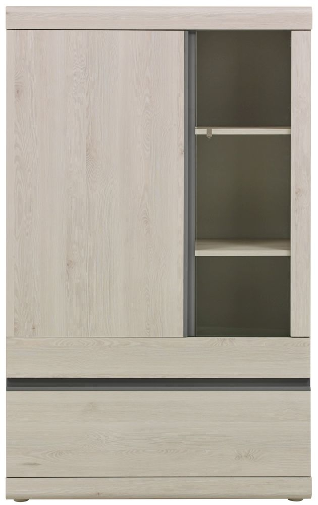 Gami Barolo Whitewashed Pine Storage Cabinet - 2 Door 1 Drawer