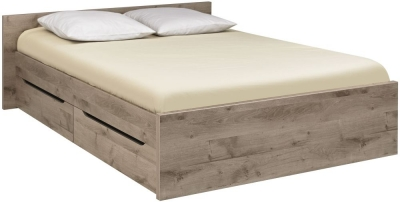 Gami Brooklyn Oak Ash and Taupe Storage Bed - 4 Drawer