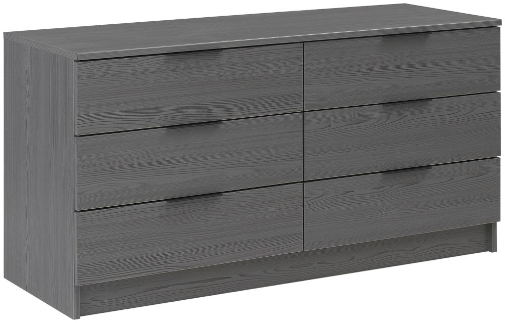 Gami Brooklyn Sunset Pine and Black Chest of Drawer - 6 Drawer