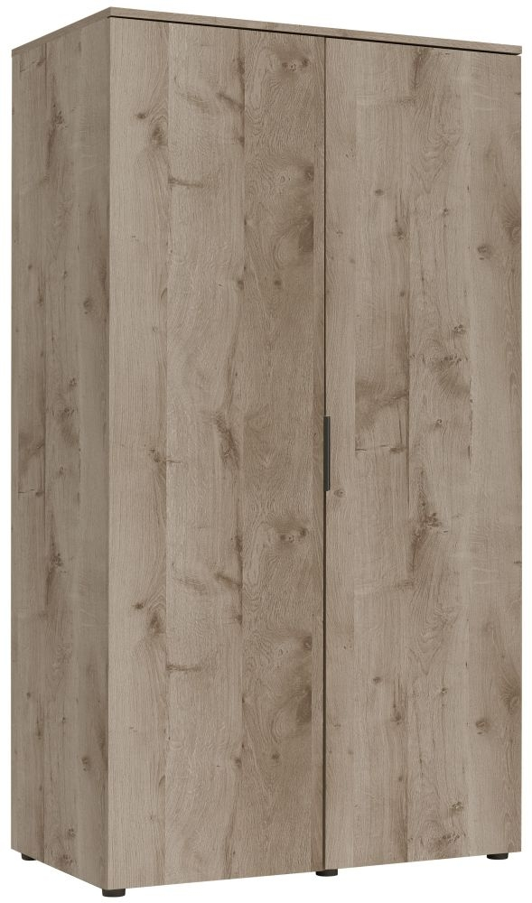 Gami Brooklyn Oak Ash and Taupe Wardrobe - 2 Door