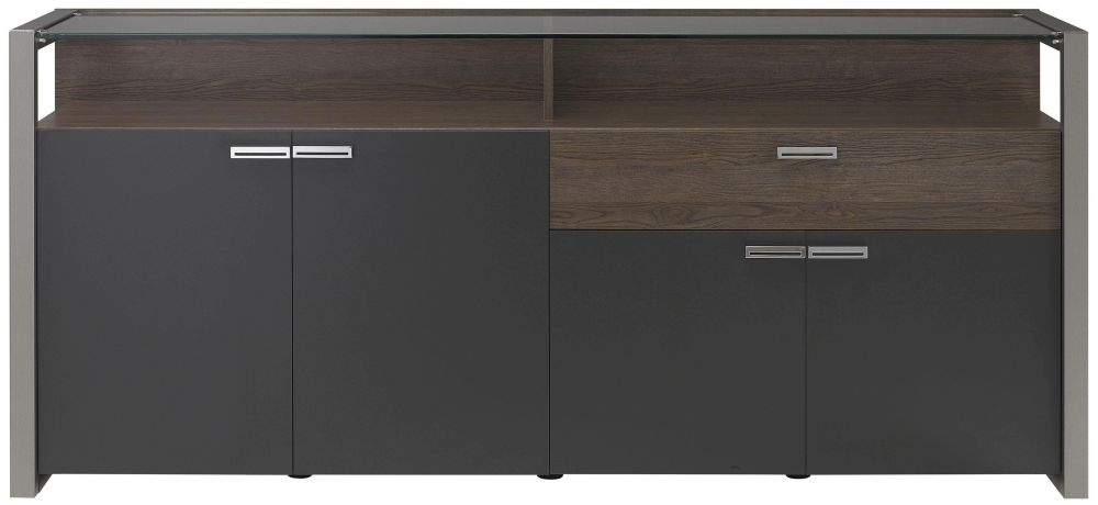 Gami Chester Copper Ash Sideboard - 4 Door 1 Drawer Glass Top