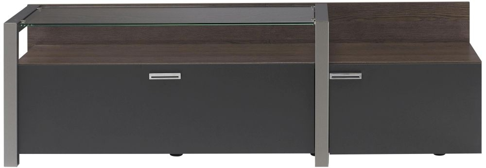 Gami Chester Copper Ash TV Unit - 1 Door 1 Drawer Glass Top